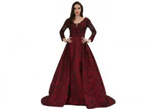 China Purplish Red Women Party Long Sleeve Evening Gowns / Vintage Nightdress on sale