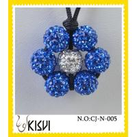 High quality guarantee white and blue flower handcrafted crystal jewelry necklace