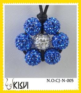 China High quality guarantee white and blue flower handcrafted crystal jewelry necklace on sale