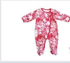 China Flower Patten Eco-friendly Cotton long sleeve  Baby Romper Suits, Cotton Pajamas for Kids  on sale