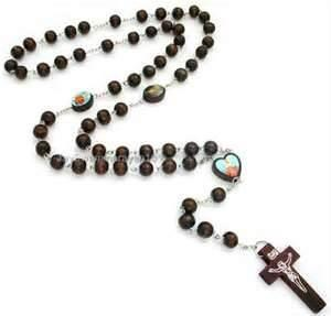 China Unique religious rosary crucifix wooden Carved chain murano glass necklace pendants for Decoration on sale