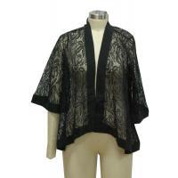 3 4 Sleeve Womens Kimono Blouse , Plus Size Lace Kimono Cardigan Lightweight