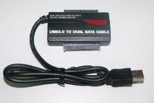 """Quality USB3.0 to 2.5 3.5""""SATA x2 , double slots hard disk switching line with OTG for sale"""