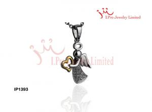 China 925 sterling silver Angle Pendant witn white CZ in Yellow & Rhodium Plated,IP1393 on sale