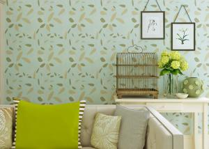 China Green Leaf Pattern Contemporary Wall Coverings Soundproof For Children Study Room on sale