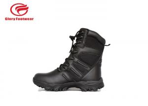 China Black Mens Lace Up Genuine Leather Military Boots Water Resistant  Fashion on sale
