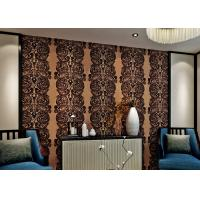 China Luxury Waterproof Velvet Flock Wallpaper for Living Room , SGS CSA Certification on sale