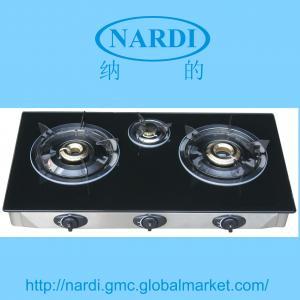 China 強くされたガラス上、ステンレス鋼フレームおよび滴りの皿の真鍮バーナーのエナメル鍋サポートが付いているガスこんろ on sale