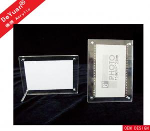 China Simple Clear Plexiglass Acrylic Photo Frames Desktop With Long Screw Past , SGS on sale