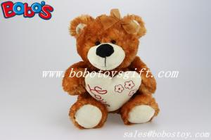 China Love Brown Stuffed Bear With Heart Pillow As Boys Toy on sale
