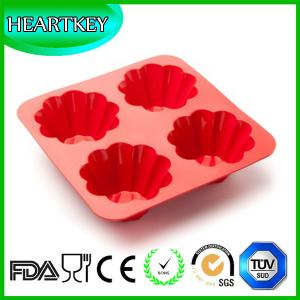 China Hot Sale Cake Pan Kitchen Bakeware Silicone Non-Stick 4 Cups Fondant Cupcake Baking Tray on sale