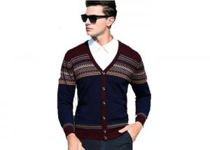 China Men's V Neck Wool Cardigan Sweater Mens Jumpers Woolen Sweater For Mens on sale