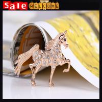 Retro Golden Tone Walking Horse Brooch Pin,Crystal Xmas Christmas Animal Brooch Corsage