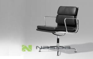 China Swiveling Black leather Ergonomic Office Chairs medium back polished steel on sale