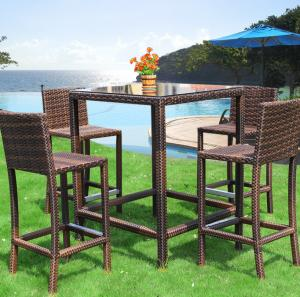 China outdoor furniture patio rattan/wicker bistro high bar table with cushion glass table villa garden set on sale