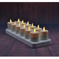 China Set Of 12 Moving Wick Led Rechargeable Votives Led Tealight Candles on sale