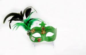 China Green Face Unique Masquerade Venetian Masks Decorative Decals For Lady on sale