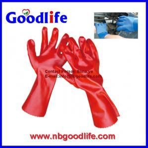 China ポリ塩化ビニールによって塗られた手袋、ポリ塩化ビニールは手袋、耐久ポリ塩化ビニールの手袋に点を打ちました on sale