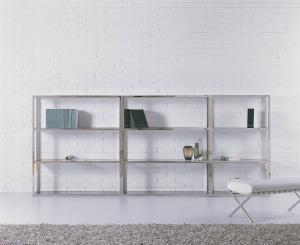 China Wall Mounted Glass Bookshelves, Metal Glass Bookcase Studyroom Furniture on sale