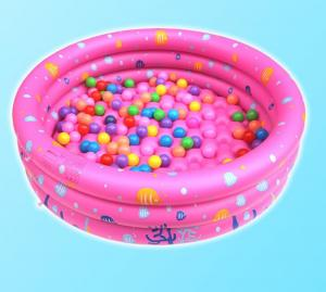 China Dots Printed Inflatable Park Pools , Blow Up Swimming Pools With 3 Rings Circle on sale