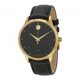 China Buy Best Seller MOVADO Museum Black Dial Black Leather Strap Men's Watches Sale on sale