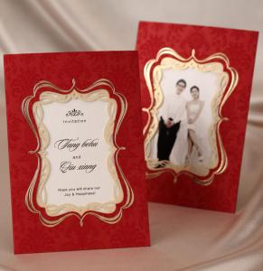 China Red Elegant Photo Frame Wedding Invitation Card with Envelopes and Seal, Wholesale Available, New Arrival on sale