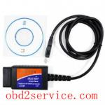 obd2service.com vende por atacado o plástico de USB do software do varredor ELM327 com microplaqueta de FT232RL