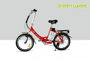 China Aluminum Folding Electric Bike / Lightest Lithium Electric Folding Bicycle V Brake 36V Battery on sale