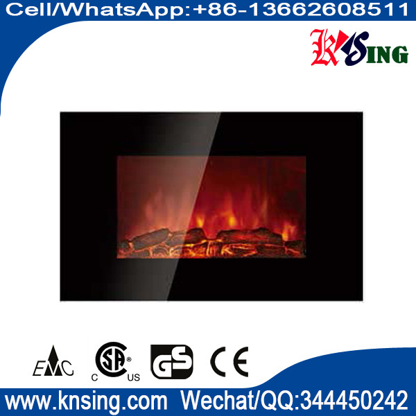 fire flame flat tempered glass wall mounted electric fireplace
