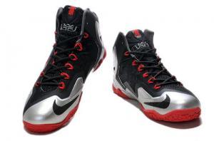 China Nike LeBron James 11 Black Sliver Red Shoes $66.98 on sale