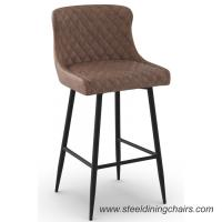 China Brown Upholstered 105cm Synthetic Leather Counter Height Bar Stools With Backs on sale