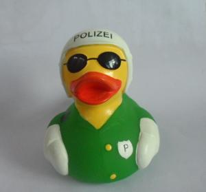 China 8cm Length Uniform Traffic Police Squeezing Rubber Ducks Green With White Helmet on sale