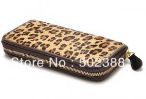 China Fashion Leopard Genuine Leather Wallets- Cow Hide / Horse Hair Long Zip Round Wallet on sale