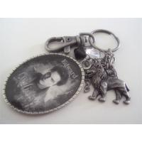 Metal antique pewter plated lion fob keychain, vintage pewter plating key tag key chains,