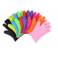 Anti - Dust Silicone Bbq Gloves , Heat Resistant Oven Gloves With Fingers
