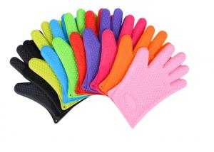 China Anti - Dust Silicone Bbq Gloves , Heat Resistant Oven Gloves With Fingers on sale