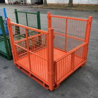 Metal Mesh Pallet Storage Bins Collapsible Pallet Containers Corrosion Protection
