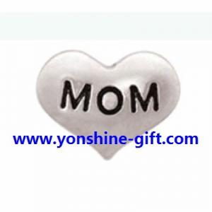 China Antique Pewter MOM Heart Floating Charms For DIY Floating Locket Accessories From YonShine-Gift.com on sale