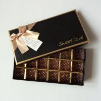 Handmade Cardboard Chocolate Packaging Gold Stamping Ribbon Screen Printing