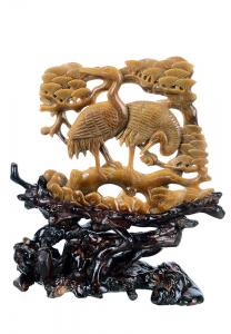"China 6.69"" Tiger Eye Jade Carved Animal Sculpture - Crane (AG16) on sale"