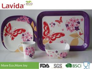 China Reusable Melamine Dinnerware Sets Fresh Vivid Nature Garden Heat Resistance Non - Toxic on sale