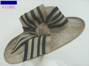 China Popular Ladies Sinamay Hats With Bow , Big Brim For Carnival Colorfastness on sale