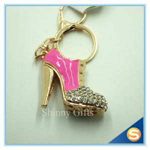 China Rhinestone High Heeled Shoes Connecting Metal Key Chain Metal Charm Pendant Purse Bag Key Ring on sale