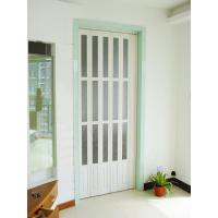 China Interior Decorative PVC Accordion Folding Door Walnut Color With Glass on sale