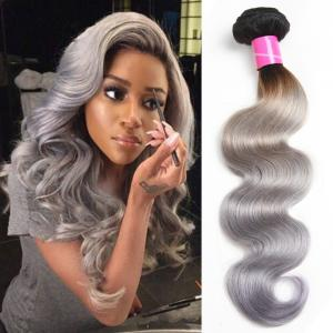 China Body Wave Thick Ombre Human Hair Extensions 40 Inch Grey For Women on sale