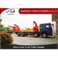 20 Feet Side Lifting Container Trailer Truck , XCMG 37 Ton Crane With Slide