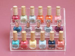 China Clear Acrylic Nail Polish Holder 3 Layer Perspex Nail Polish Display Stand Lucite Makeup Organizer on sale
