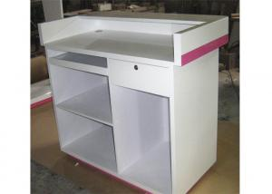 China Modern Style Cash Wrap Counter With Drawer , White Retail Store Checkout Counters on sale