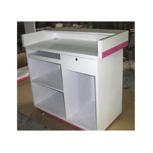 China Modern Style Cash Wrap Counter With Drawer , White Retail Store Checkout Counters supplier