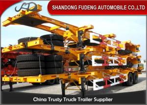 China 40 Feet Flatbed Skeleton Shipping Container Trailer Mechanical / Air Suspension on sale
